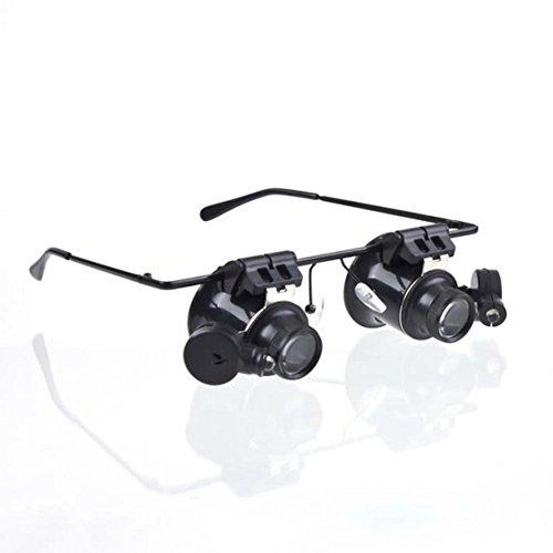 OWIKAR 20X Gafas Lupa LED Ojos Lupa Gauge Lente Reparación