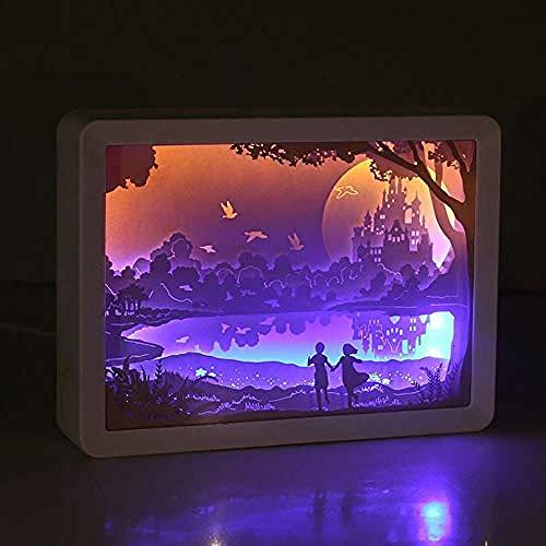 Wangzj Papercut Light Boxes, 3D LED Night Light Lámpara de talla de papel creativa Pareja Regalo para dormitorio Decoración de fiesta