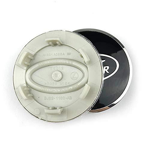 XCBW Coprimozzo 4 Pezzi 63 mm Emblema del Logo del Pneumatico del Cappuccio Centrale del mozzo per La-nd Ro-v-er Car Modified,Black Silver