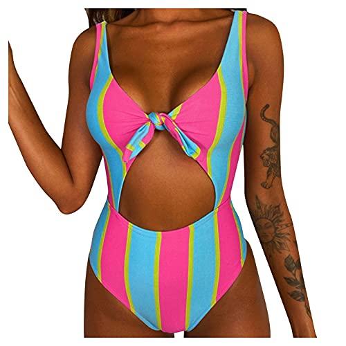 YANFANG Traje De BañO Una Pieza Cintura Alta con Estampado Honda para Mujer,Bikini Sexy Mujer, Push Up, Monokini Alta,Push Up Triangular Busto Ajustable Tirantes Cruzados Traseros Talle,Hot Rosa,XL