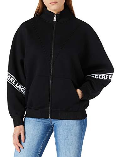 KARL LAGERFELD Damen Logo Tape Zip-up Sweatshirt, Schwarz, L EU