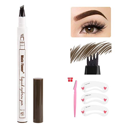 RAINBOW LOVE Eyebrow Tattoo Pen Waterproof Microblading Eyebrow Pencil Micro-Fork Tip,Creates Natural Looking Eyebrows (#2 Brown)