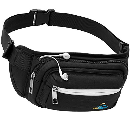 Pro Helios Premium Fanny Pack for Men Women Water Resistant Waist Bag for Outdoor Activities, Traveling, Hiking, Biking, Running | Fannie Pack for Women (Black)