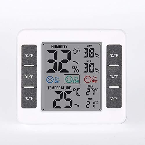 AQBOZ Termómetro Interior Higrómetro Pantalla LCD Fácil De Leer En Tiempo Real Inteligente Temperatura Digital Y Medidor De Humedad S/F Reloj Despertador Fuera del Hogar
