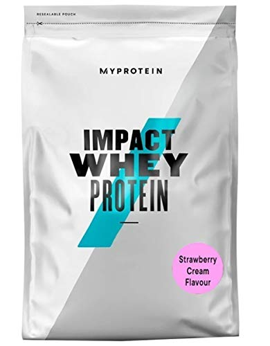 Myprotein Impact Whey Protein Powder. Muscle Building Supplements for Everyday Workout with Essential Amino Acid and Glutamine. Vegetarian, Low Fat and Carb Content - Strawberry Cream, 1kg