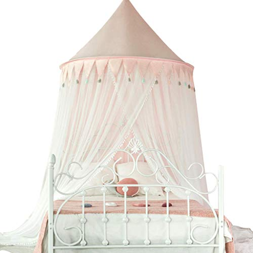 MUQING Girl Heart Mosquito Net Nordic Princess Wind Mosquito Net Boy Girl Enfant Installation Gratuite Mosquito Net Bed Tent (Pink, Blue),Pink,1.35m