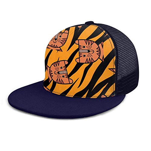 forihifngjnjyhk Bonnet de Bain, Baseball Cap Mesh Back Cute Tiger Face Skin Sun TruckerHats Women Men