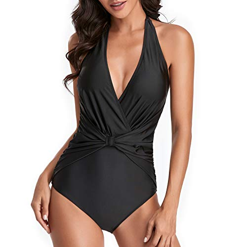 Smismivo Women's Halter V Neck Padded Swimsuit Tummy Control Slimming Bathing Suit One Piece Vintage Ruched Modest Swimwear (Black-2, Large)