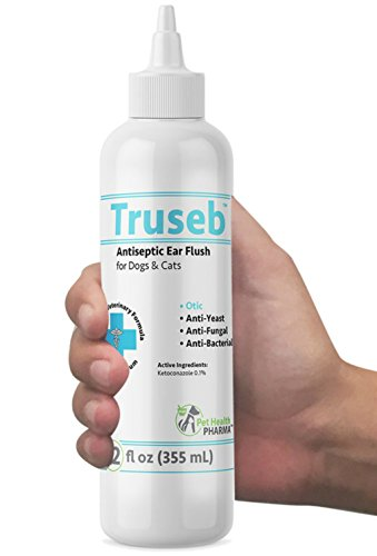 Truseb | #1 Tris Otic Fush Dog and Cat Ear Infection Treatment – Ear Cleaner Flush Solves Itching, Head Shaking, Discharge & Smelly Ears Due to Mites, Yeast & Bacteria KETOCONAZOL 0.1% - Antibacterial