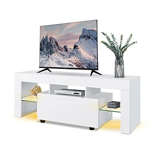 Table Basse TV/Banc TV/Armoire Meuble TV Blanc en Bois avec Eclairage LED RGBW et Télécommande 130x35x45cm