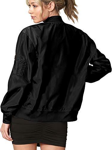 LL WJC2157 Women's Classic Lightweight Jacket Multi Pocket Windbreaker Bomber Jacket L Black