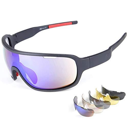 Prevessel Gafas de sol deportivas polarizadas, protección UV, gafas de ciclismo, unisex, marco superligero Tr90, con 5 lentes intercambiables para ciclismo, pesca, correr, conducir, esquí, golf