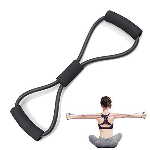 Resistance Bands Figure 8 Exercise Band Tube Band for Back Shoulder Neck Stretching Yoga Bands Bestfik Exercise Loop for Home Workout(Black)