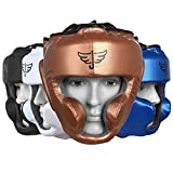 JAYEFO Sports Head Guard for Boxing MMA Kickboxing Muay Thai SELF Defence Training Gear Protection Helmet Martial Arts for Youth Men & Women (Gold, S/M)