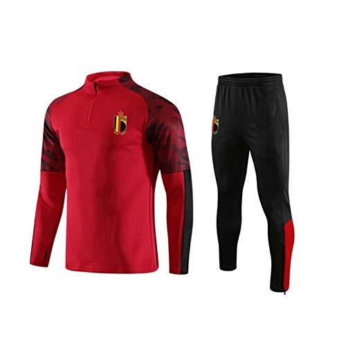 LCHENX-Hombres Bélgica Fútbol # 10 Eden Hazard Fan Camiseta de Fútbol Conjunto de Traje de Entrenamiento Deportivo de Manga Larga,B,L