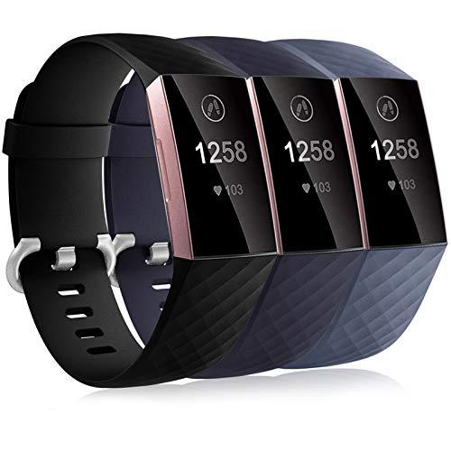 Dirrelo 3 Pack Armbänder Kompatibel mit Fitbit Charge 3/Fitbit Charge 4/Charge 3 SE Armband für Damen und Herren, Sport Verstellbares Ersatzarmband Silikon Uhrenarmband, Schwarz+Blau+Blau Grau S