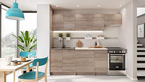 puissant MELA Kitchen Light Bleach Oak Aspect 2m 40–7 pcs