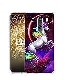 Sunrive Funda Compatible con LG G3, Silicona Slim Fit Gel Transparente Carcasa Case Bumper de Impactos y Anti-Arañazos Espalda Cover(Q Unicornio 1)