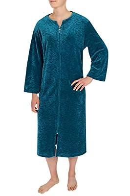 Miss Elaine Women's Long Velvet Fleece Robe Long Sleeves, Breakaway Zipper a Round Neckline