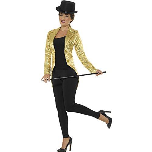 Amakando Queue-de-Pie Femme avec Paillettes - L (FR 44/46) | Veste à Paillettes pour Dames d'or | FRAC Extravagant Carnaval | Redingote pour Dames coloré