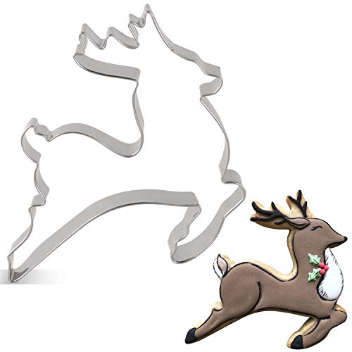 LILIAO Christmas Reindeer Cookie Cutter - 3.9 x 4.3 inches - Stainless Steel