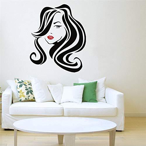 hetingyue Große Friseursalon Lippen Wandtattoos Frisur Friseur Dame Vinyl Fenster Wandaufkleber Shop Dekoration 52x63cm