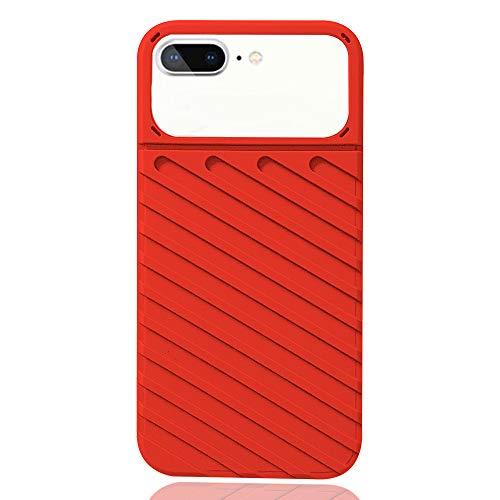 "Rdyi6ba8 Funda Compatible con iPhone 8 Plus, Carcasa Protectora de Lente de cámara Transparente con Parachoques de TPU Suave Cover Anti-Choques Case para Apple iPhone 7 Plus 5.5"", Rojo"