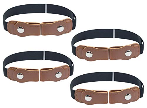 Timiot No Buckle Belt for Kids (4-Pack) Designer Comfort for Boys and Girls | Elastic Stretch Fit | Supports Independent Toddlers (4pcs Black)