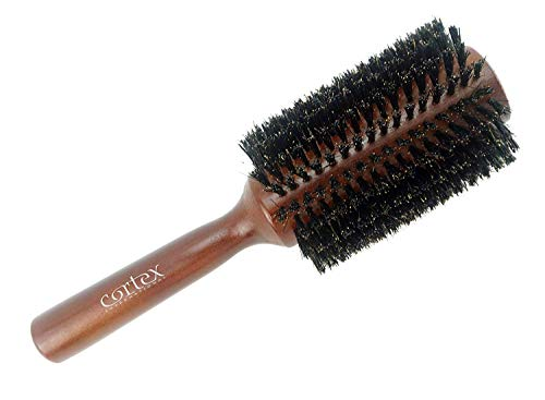 """Cortex Professional 100% Boar Bristle Round Hair Brush, For Women and Men, For All Hair Types, Natural and Soft Hair Brush - Brown Wood 2.4"""""""