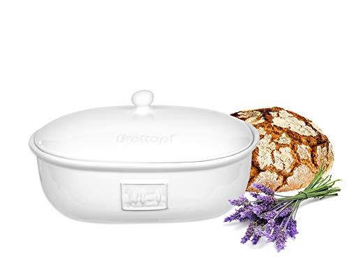 BigDean Brottopf 36,5 x 25,5 x 19 cm Toskana Weiß Brotkasten Oval mit Belüftung aus Steingut Brotkorb 36,5 x 25,5 x 19 cm
