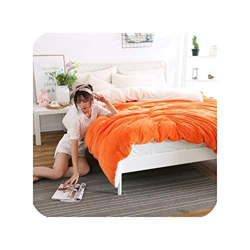 Ab Side Winter Duvet Cover Berber Fleece Quilts Cover Lamb Bedding Home Textile 1Pc Solid Warm Comforter Cover Velvet Bed Cover,Orange Fleece,240X220Cm