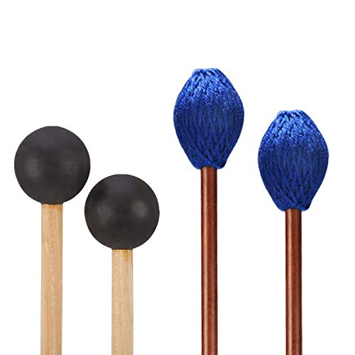 Canomo 1 Pair Medium Hard Yarn Head Marimba Mallets and 1 Pair Rubber Mallets Sticks with Wood Handle for Percussion Bell Glockenspiel Marimba