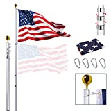 25FT Telescoping Flag Pole Kit, Extra Thick Heavy Duty Telescopic Flagpole Fly 2 Flags, Outdoor Aluminum Inground Flag Poles with 3x5 American Flag, Golden Ball Top for Residential, Yard or Commercial