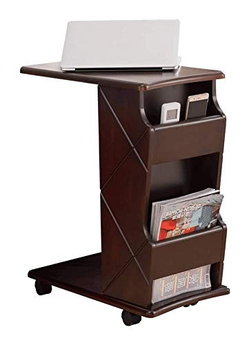 BUYT Portable End Table Portable Desks for Small Spaces, End Table Side Table with Castors and Storage Shelf Oak Sofa Table C Table Laptop Table Telephone Table (Color : A)