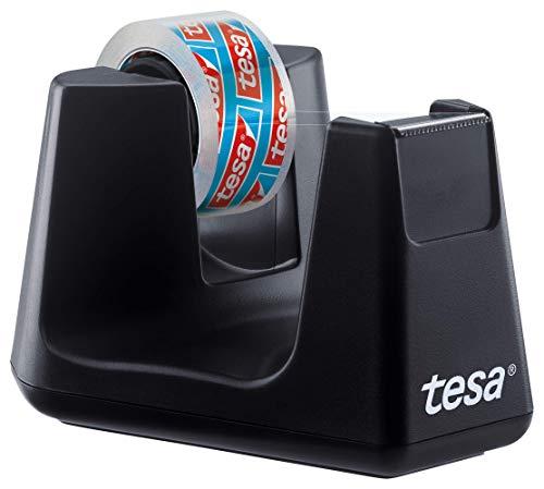 tesa Easy Cut SMART Klebebandabroller für Tische / Kompakter Tischabroller mit Anti-Rutsch-Technologie für Klebefilm, inkl 1 Rolle tesafilm kristall-klar