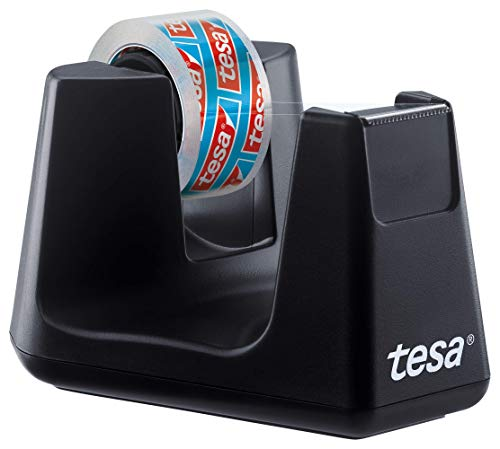 Tesa Easy Cut Smart - Dispensador de cinta adhesiva (1 rollo, 10 m x 15 mm), color negro