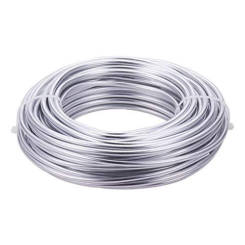 BENECREAT 16m 4mm Alambre de Aluminio de Aluminio Plateado Cable de Aluminio Flexible para Esculpir Esqueletos Florales...