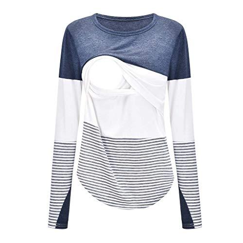 Solike T-Shirt Maternité Allaitement Maternel Rayé Sweat Shirt pour Les Soins Infirmiers Enceintes