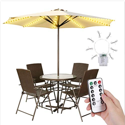 Waterproof Garden Patio Umbrella Lights Outdoor Battery Operated, Waterproof String Light with Remote Control 8 Brightness Modes 104 LEDs Outdoor LED Umbrella Lights for Pole Camping