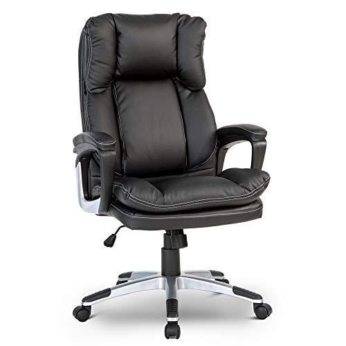 BTM 300 lbs High-Back Executive Desk Chair Black PU Leather PC Computer Office Chair