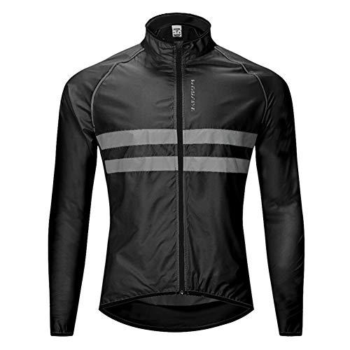 Chaqueta de Ciclismo para Hombre Impermeable Y Transpirable Chaleco Resistente Al Viento Abrigo Exteriores Protección UV (Black,L)