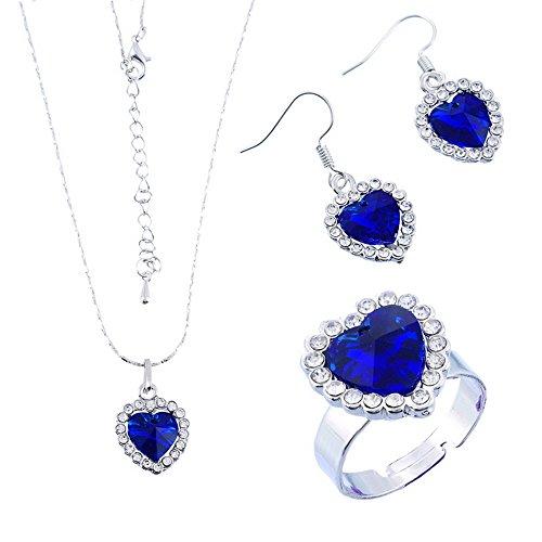 Encanto océano amor corazón azul eléctrico colgantes collar moda juego anillo y pendientes de cristal para las mujeres niñas