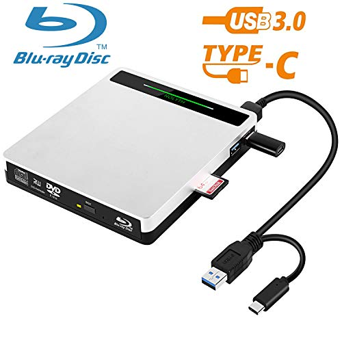 5-in-1 External Blu-ray Drive Player USB 3.0 NOLYTH Multifunctional USB C External Bluray Drive Burner for Laptop/MacBook/Windows10/PC Supports SD TF Card/USB3.0 Transfer and Charging