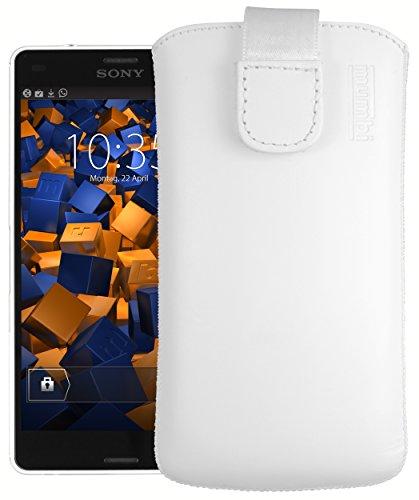 mumbi Echt Ledertasche kompatibel mit Sony Xperia Z3 Compact Hülle Leder Tasche Case Wallet, Weiss