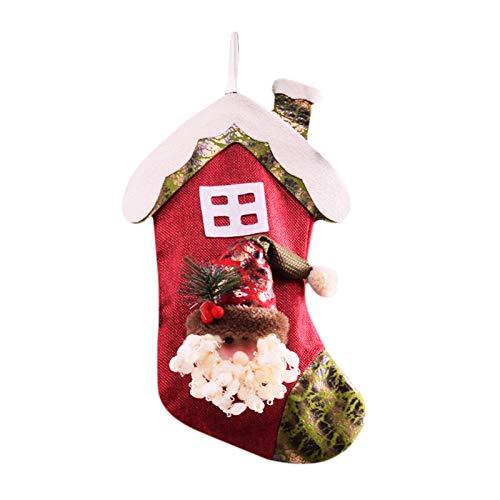 Calcetín de Navidad con colgante de árbol de Navidad, bolsa de regalo grande y lindos calcetines de dibujos animados regalo para niños en Navidad