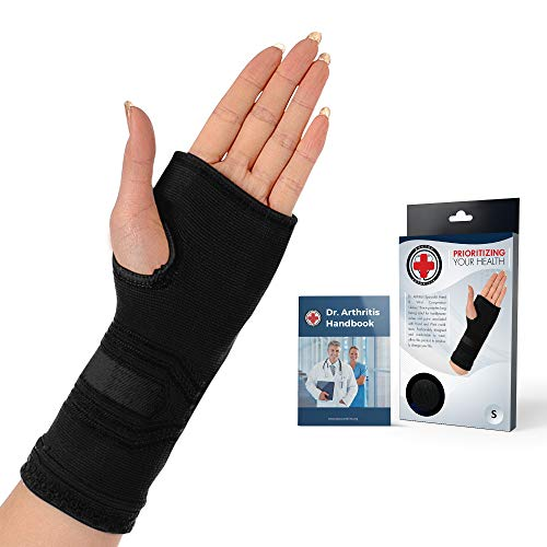 Dr. Arthritis - Handgelenkbandage inkl. Handbuch vom Arzt - Kompressive Handgelenk Bandagen Für Links- Und Rechtshänder - Bandage Handgelenk Für Männer & Frauen - Handgelenkstütze Schwarz (S)