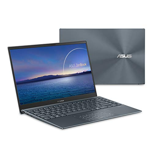 "ASUS ZenBook 13 Ultra-Slim Laptop, 13.3"" FHD NanoEdge Bezel Display, Intel Core i7-1065G7, 8GB LPDDR4X RAM, 512GB PCIe SSD, NumberPad, Thunderbolt, Wi-Fi 6, Windows 10 Home, Pine Grey, UX325JA-DB71"