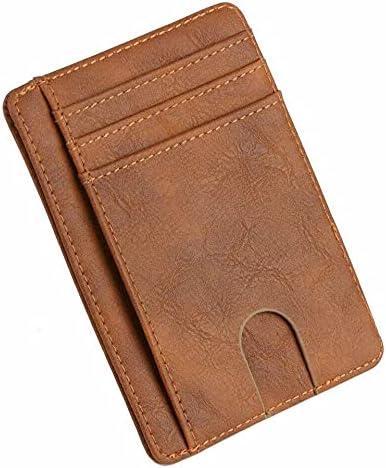Slim Minimalist Front Pocket RFID Blocking Carbon Fiber Wallets for Mens Wallet (Brown)