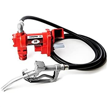 Biltek 12V DC High-Flow 20 GPM Fuel Transfer Pump for Gasoline Diesel Fuel Kerosene Mineral Spirits Heptane Hexane E15 Biodiesel and Similar Fuels or Oils red