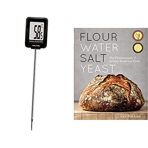 Heston Blumenthal Digital Meat Thermometer by Salter, Instant Read Food Probe, Within 0.1 Degree Precision - Silver & Flour Water Salt Yeast: The Fundamentals of Artisan Bread and Pizza